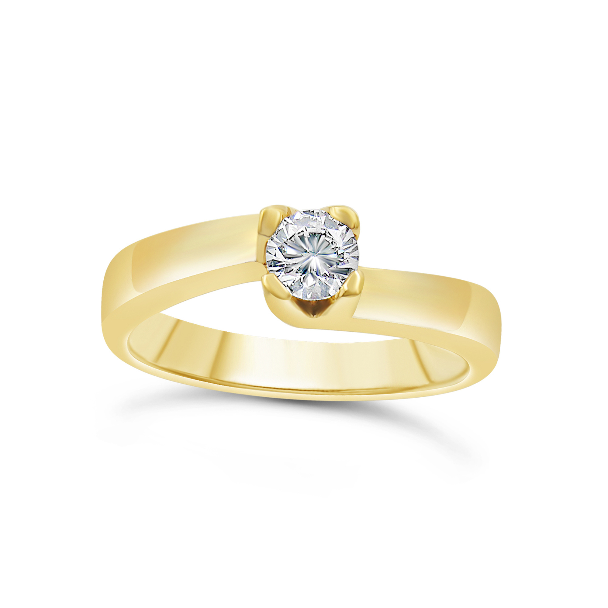18kt yellow gold engagement ring with 0.34 ct diamond
