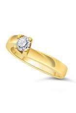 18kt geel goud verlovingsring met 0.34 ct diamant