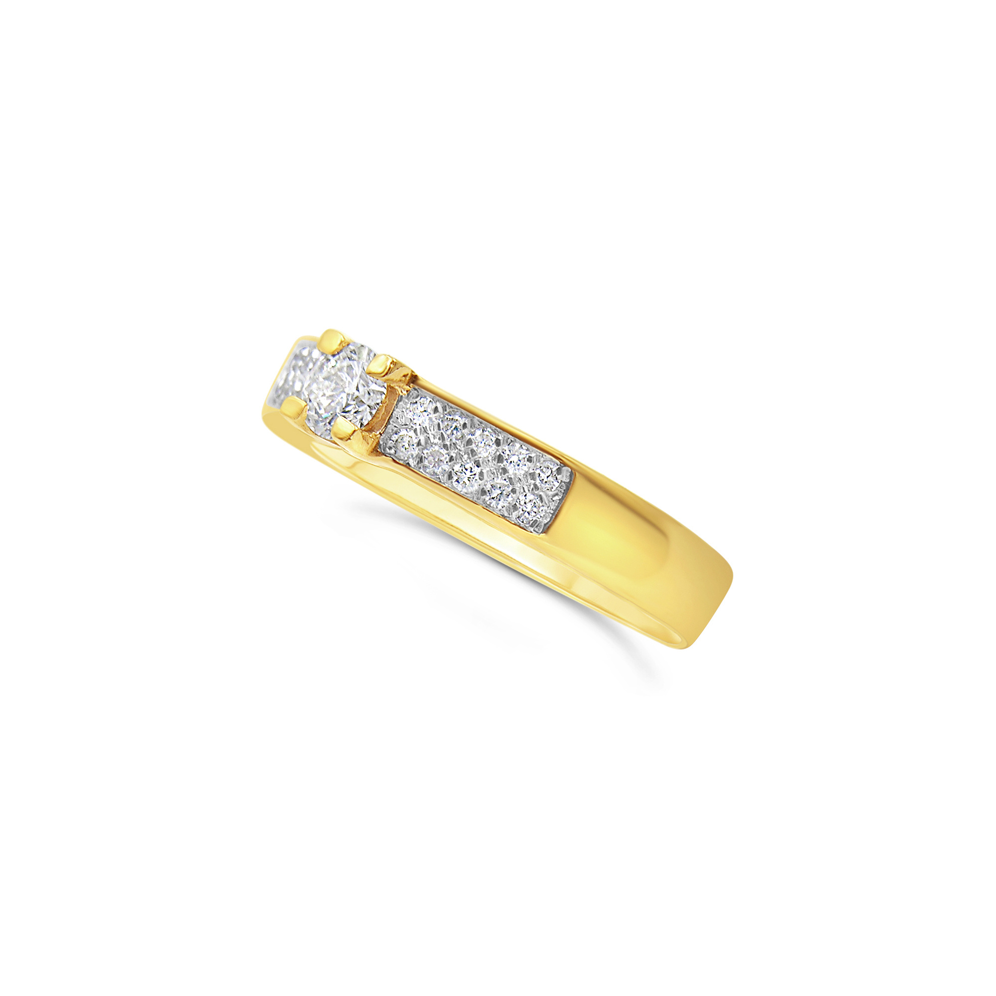 18kt geel goud verlovingsring met 0.47 ct diamanten