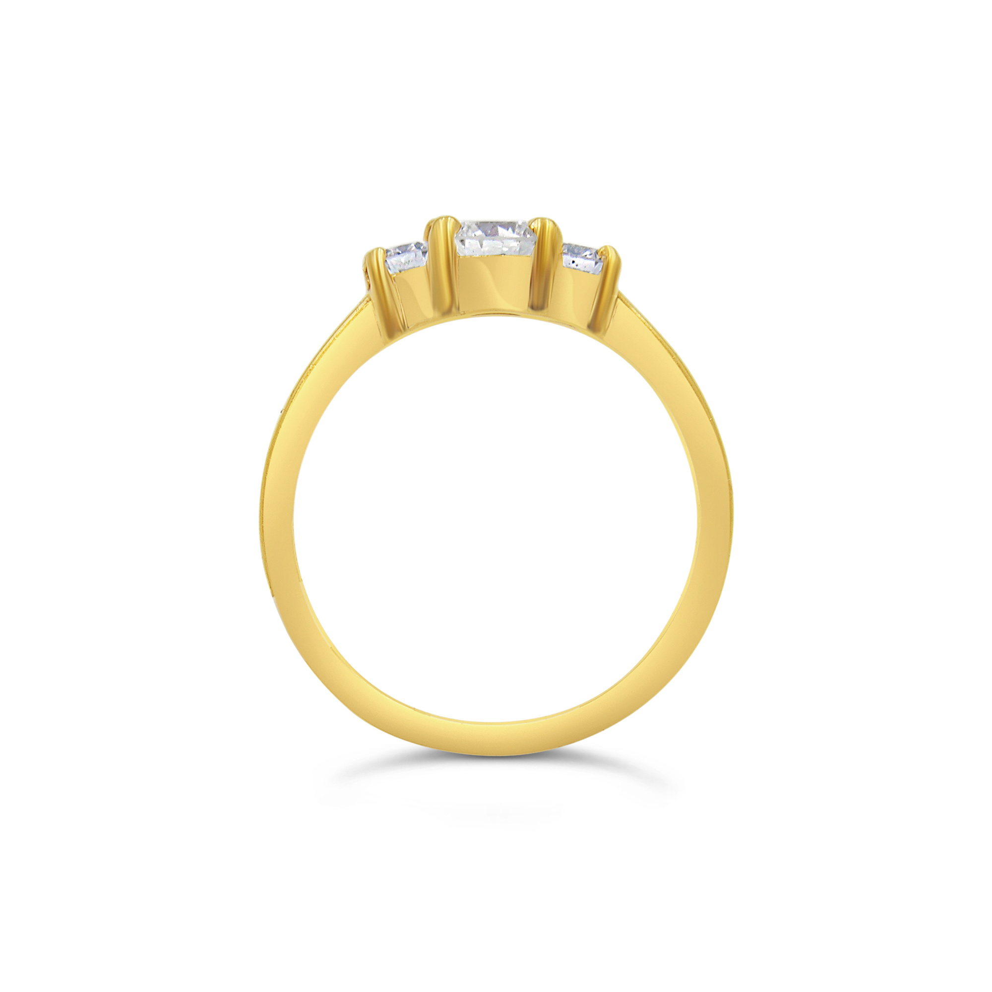 18kt yellow gold trilogy engagement ring with 0.64 ct diamonds