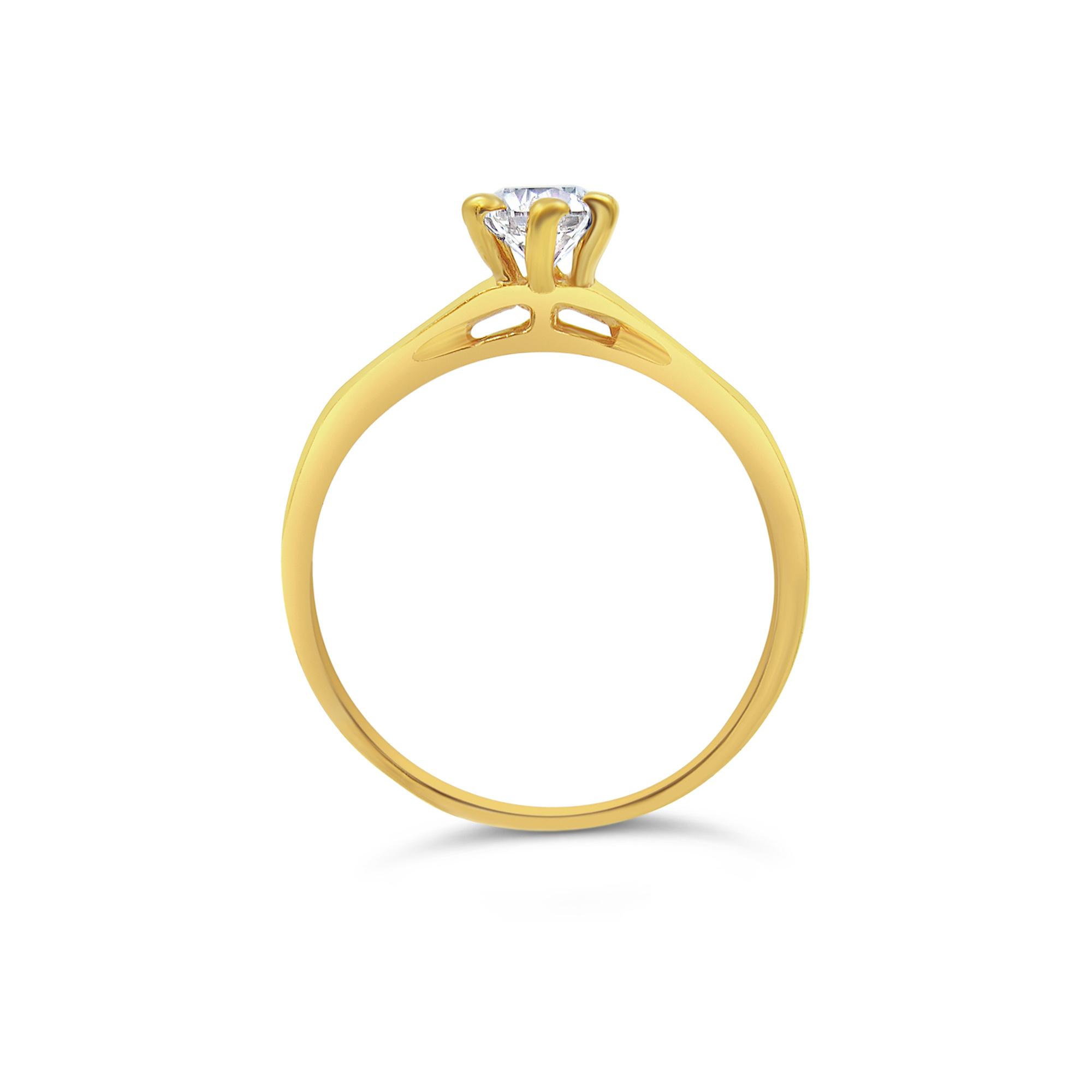 18kt geel goud verlovingsring met 0.70 ct diamanten