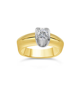 18kt yellow & white gold engagement ring with 0.50 ct diamond