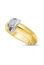 18kt geel & wit goud verlovingsring met 0.50 ct diamant
