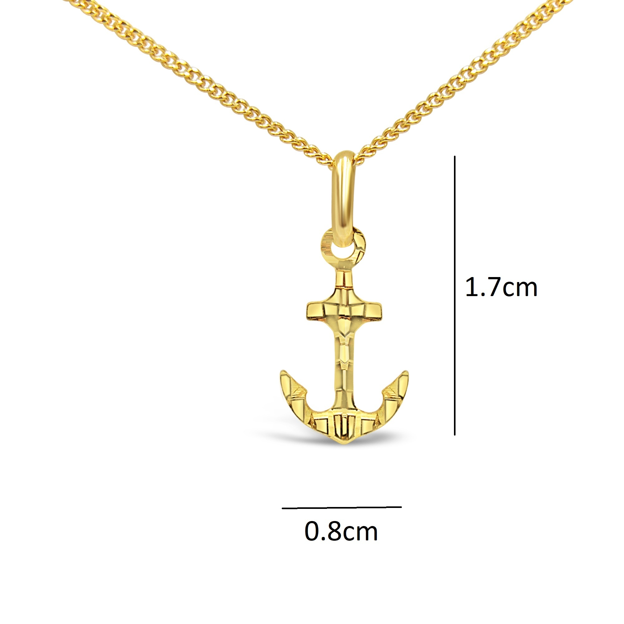 18 karat yellow gold boat anchor pendant