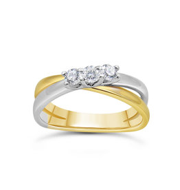 18k yellow & white gold ring with 0.31 ct diamonds