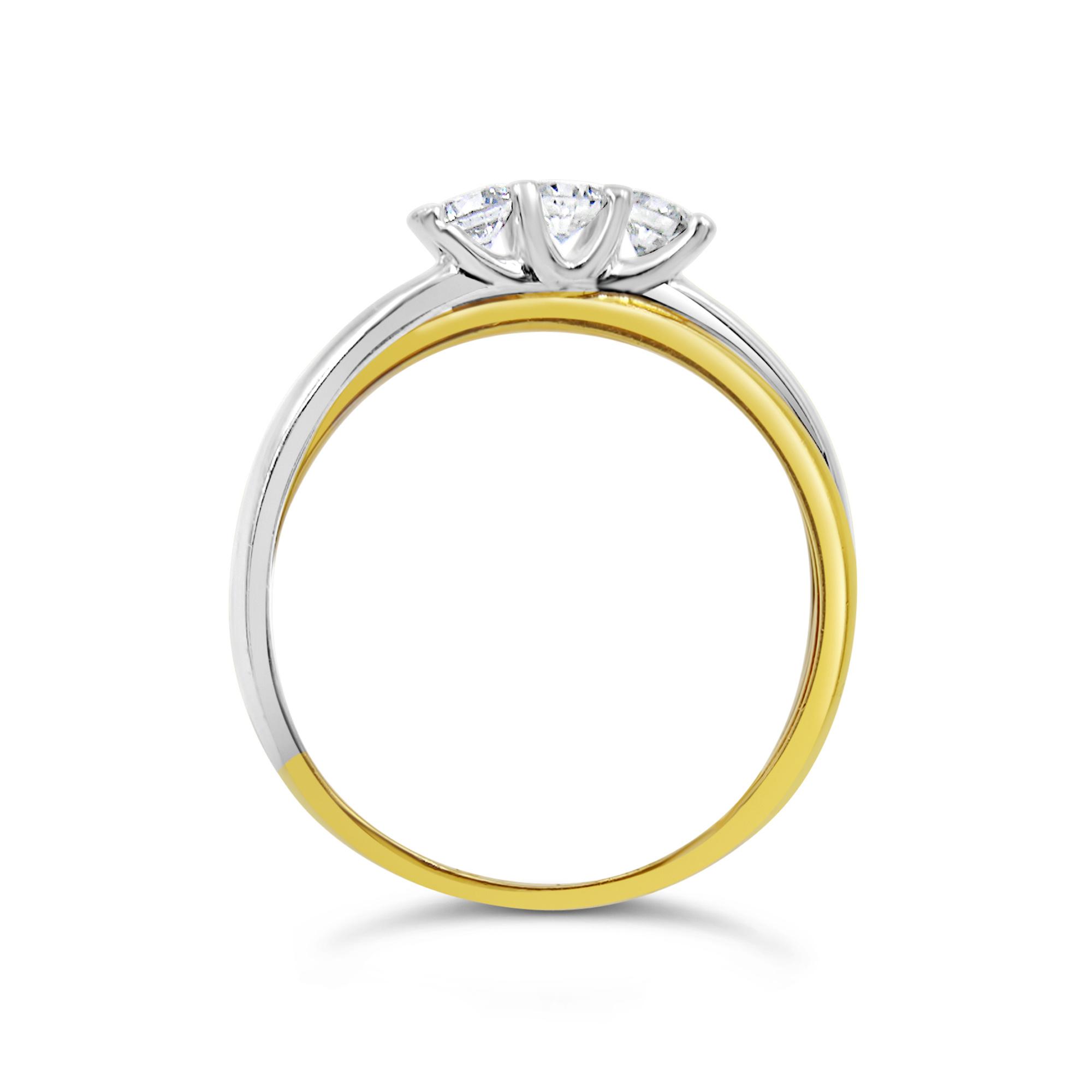 18k yellow & white gold ring with 0.31 ct diamonds