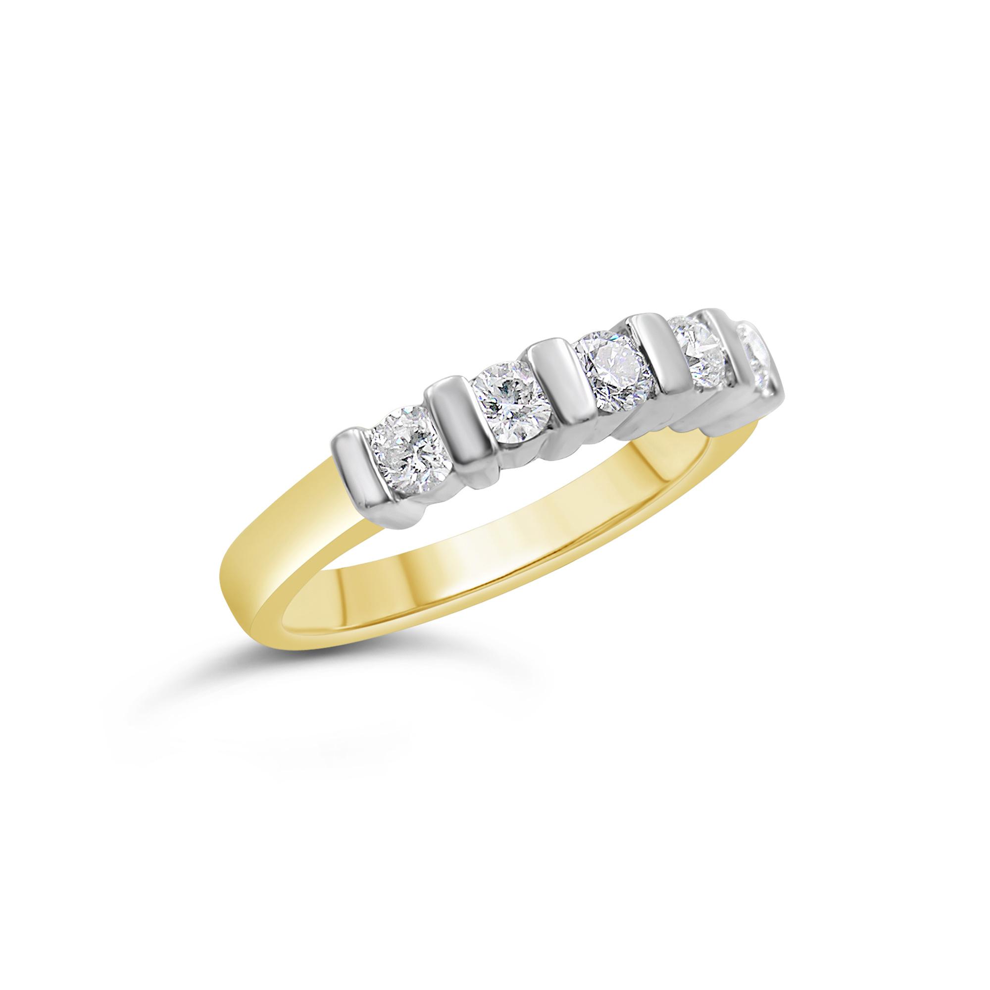 18k geel & wit goud ring met 0.60 ct diamanten