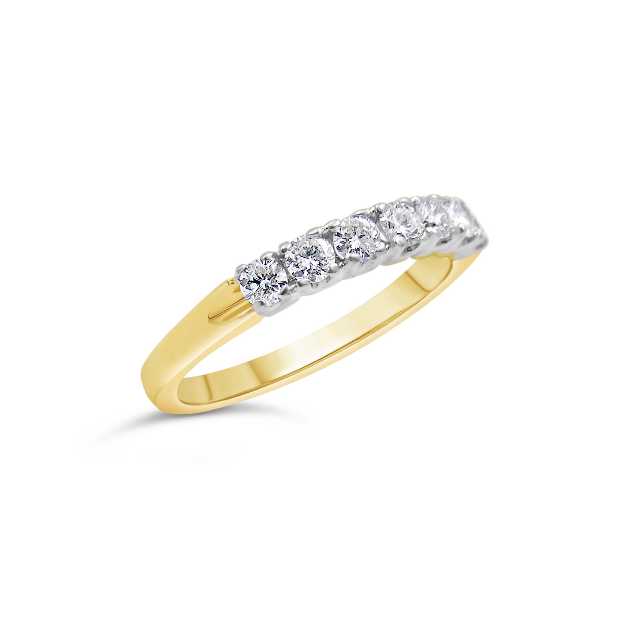 18k yellow & white gold ring with 0.60 ct diamonds