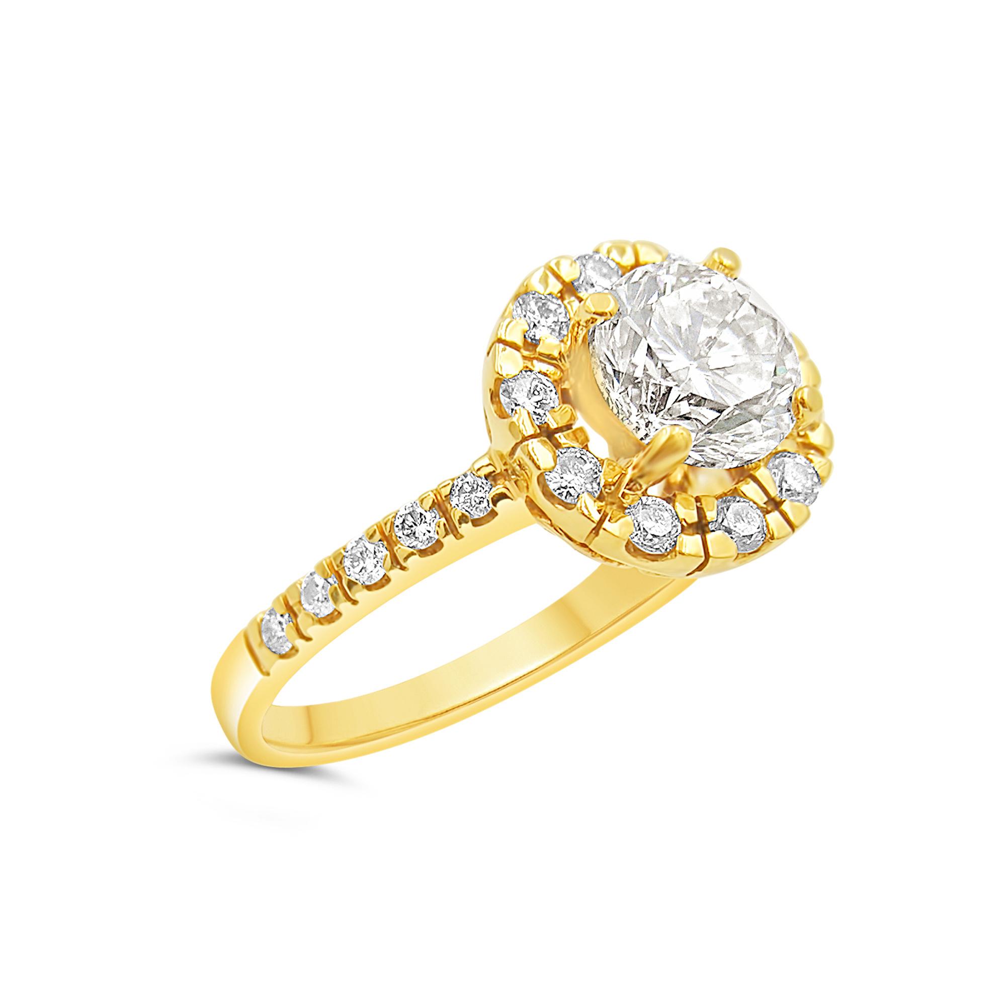 18kt geel goud verlovingsring met 1.99 ct diamanten