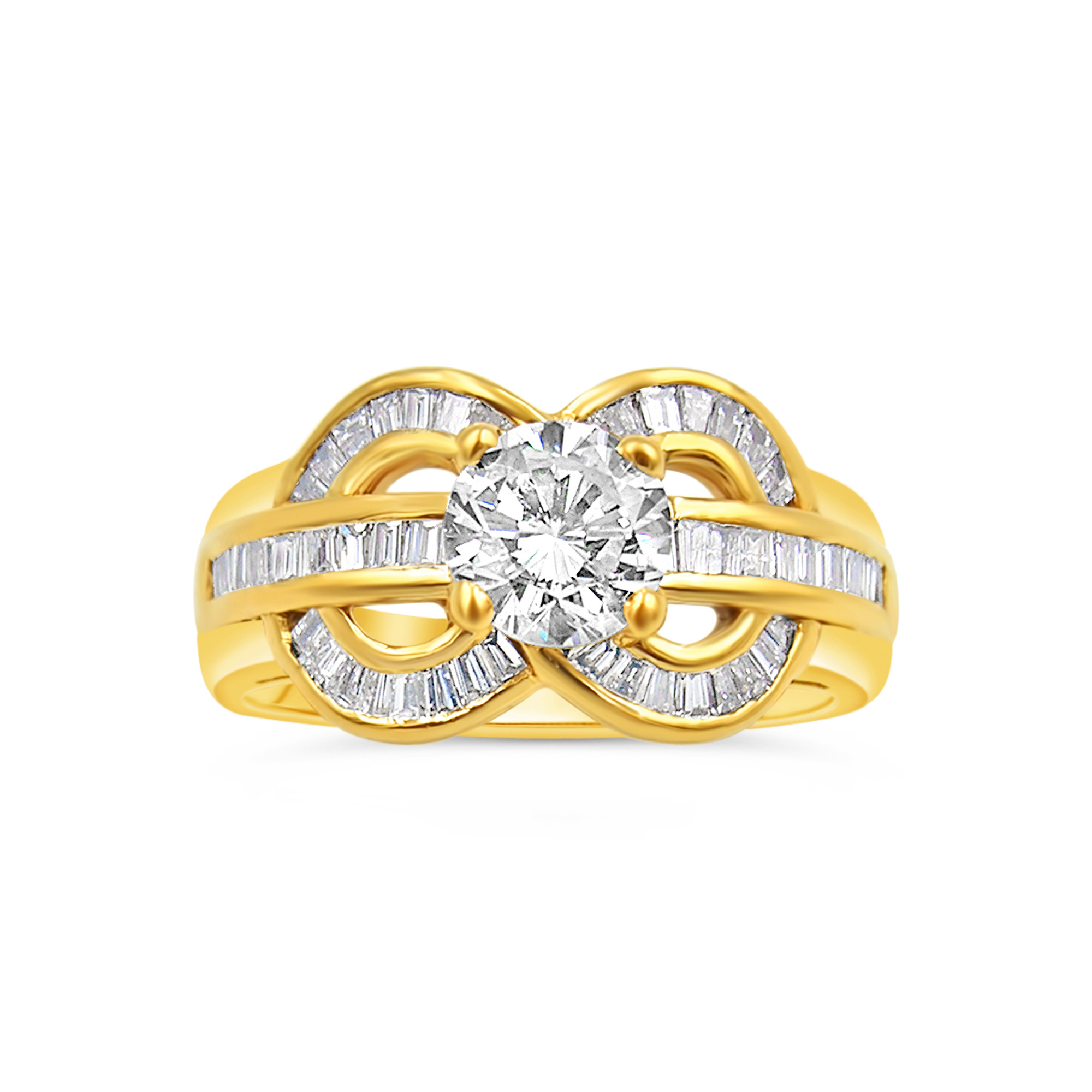 18kt yellow gold engagement ring with 1.62 ct diamonds