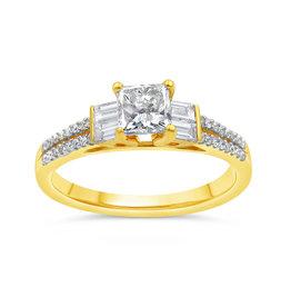 18kt geel goud verlovingsring met 1.07 ct diamanten