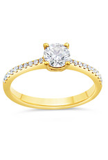 18kt yellow gold engagement ring with 0.80 ct diamonds