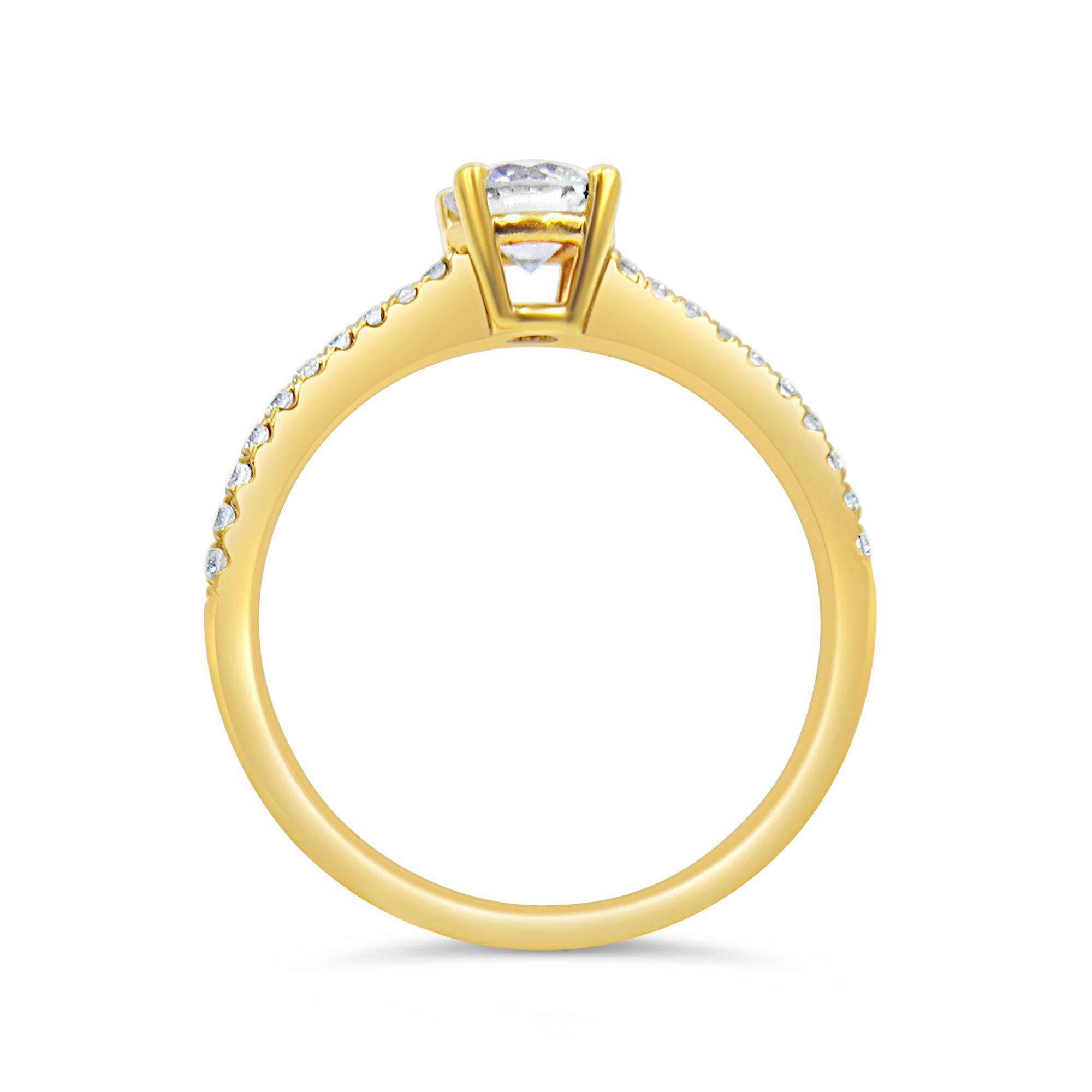 18kt geel goud verlovingsring met 0.80 ct diamanten