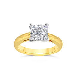 18kt yellow & white gold engagement ring with 0.90 ct diamonds