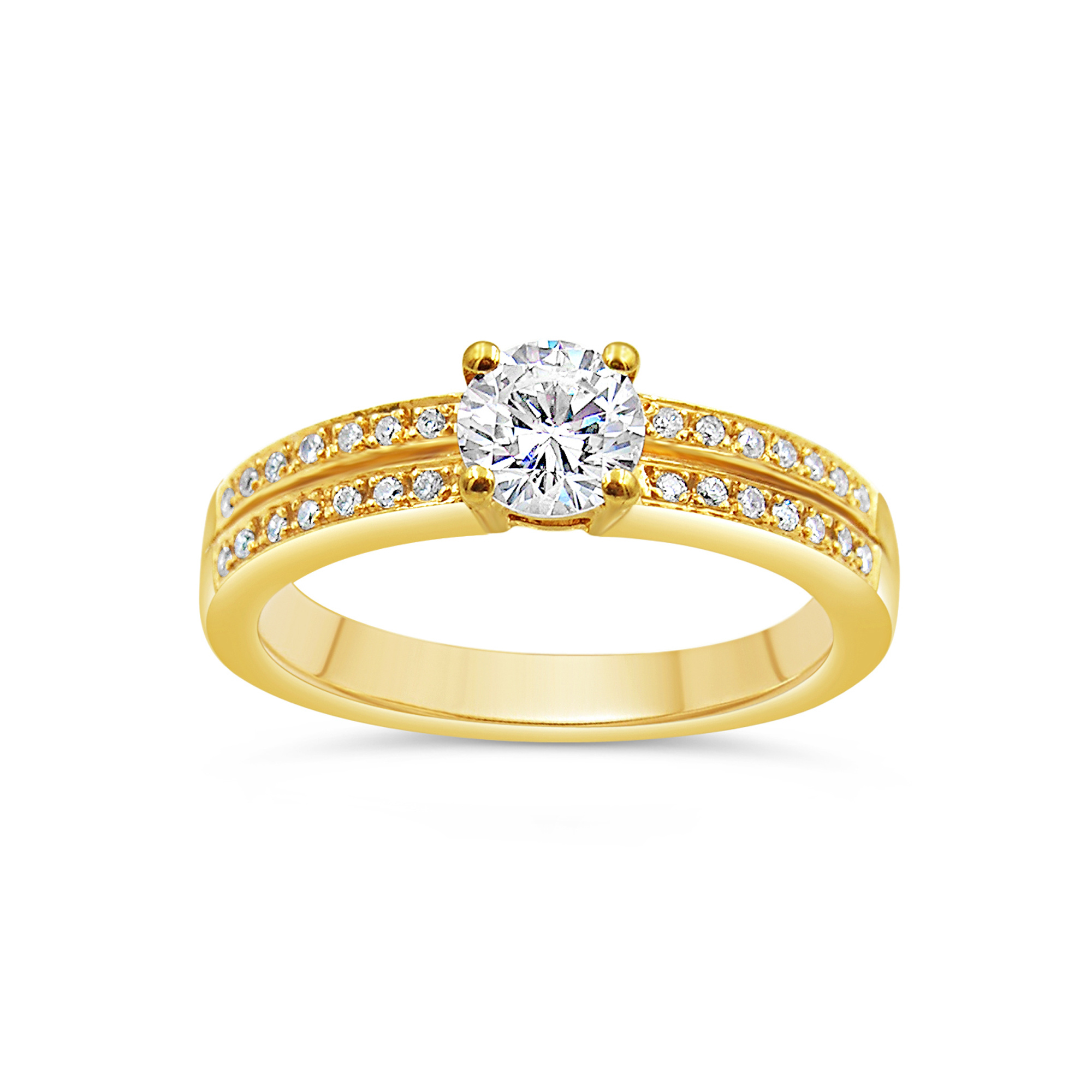 18kt yellow gold engagement ring with 0.64 ct diamonds