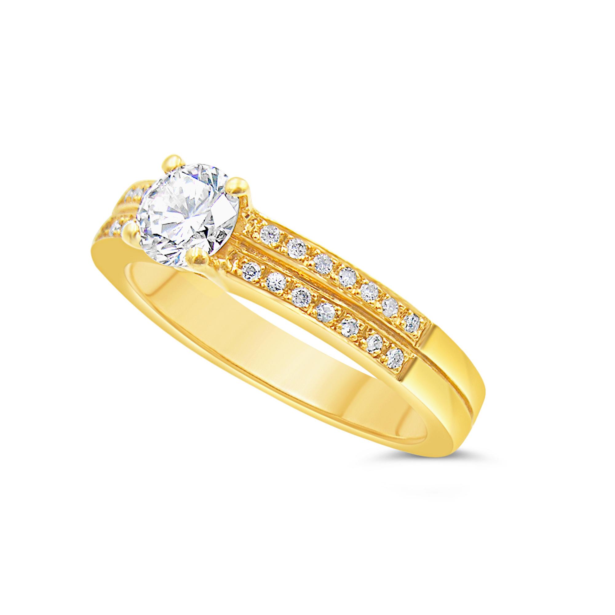 18kt geel goud verlovingsring met 0.64 ct diamanten