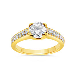 18kt yellow gold engagement ring with 1.30 ct diamonds