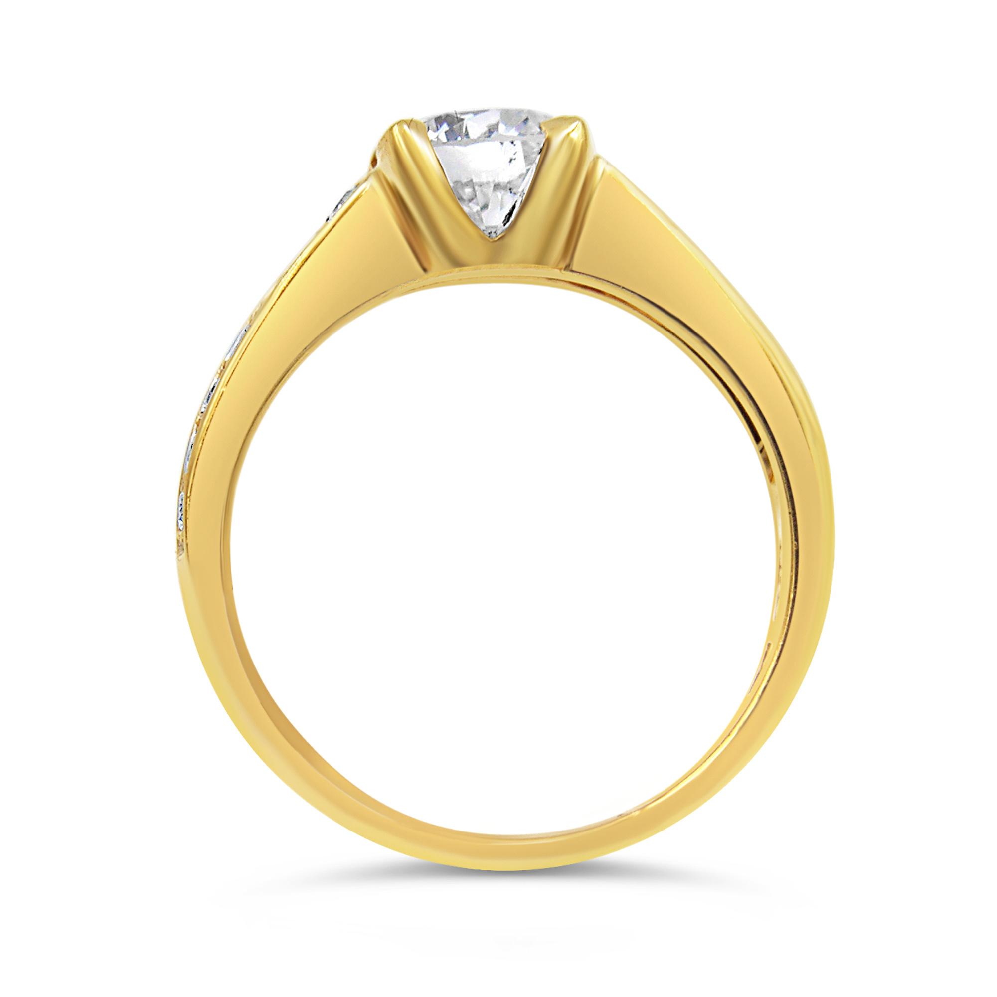 18kt geel goud verlovingsring met 1.30 ct diamanten