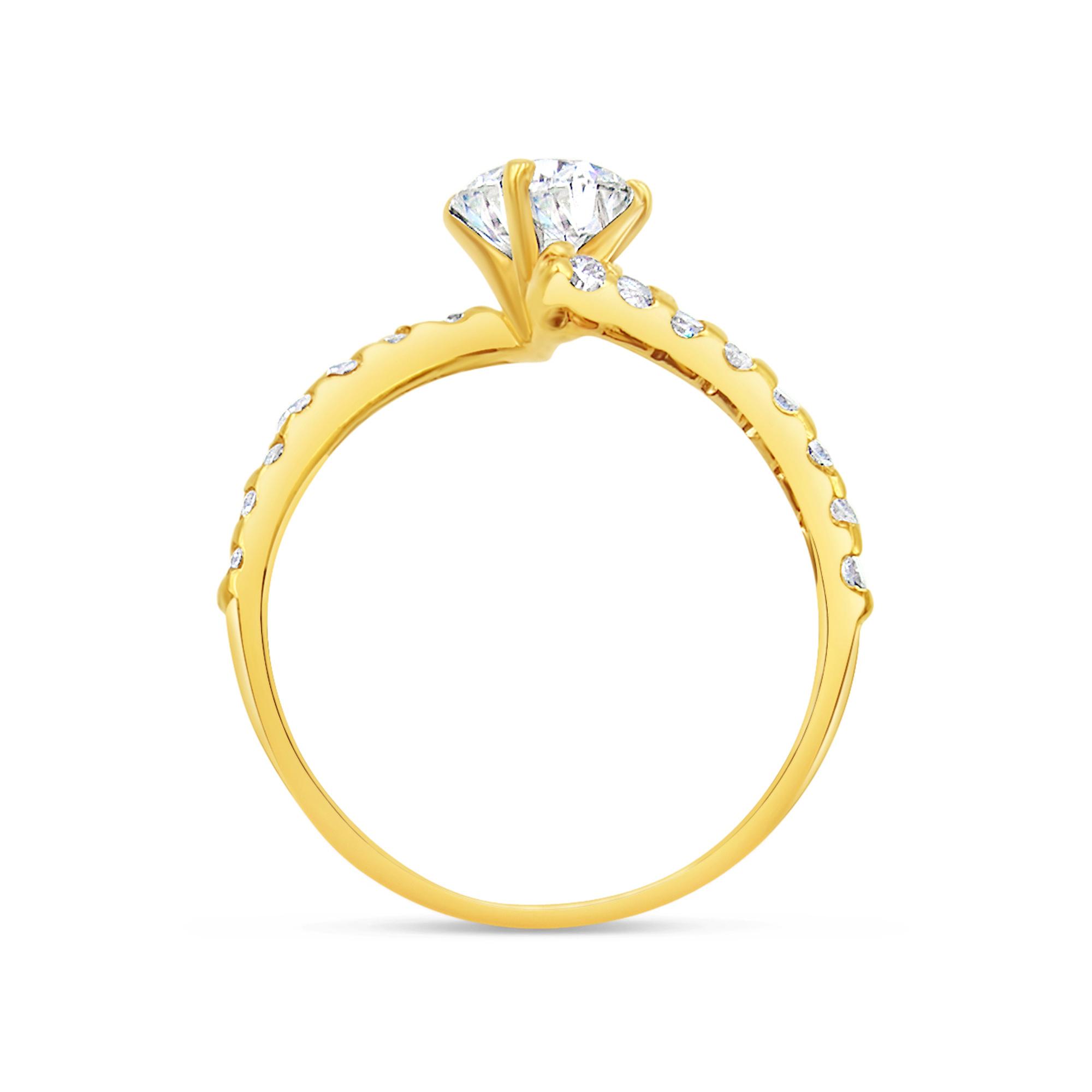 18kt geel goud verlovingsring met 1.23 ct diamanten