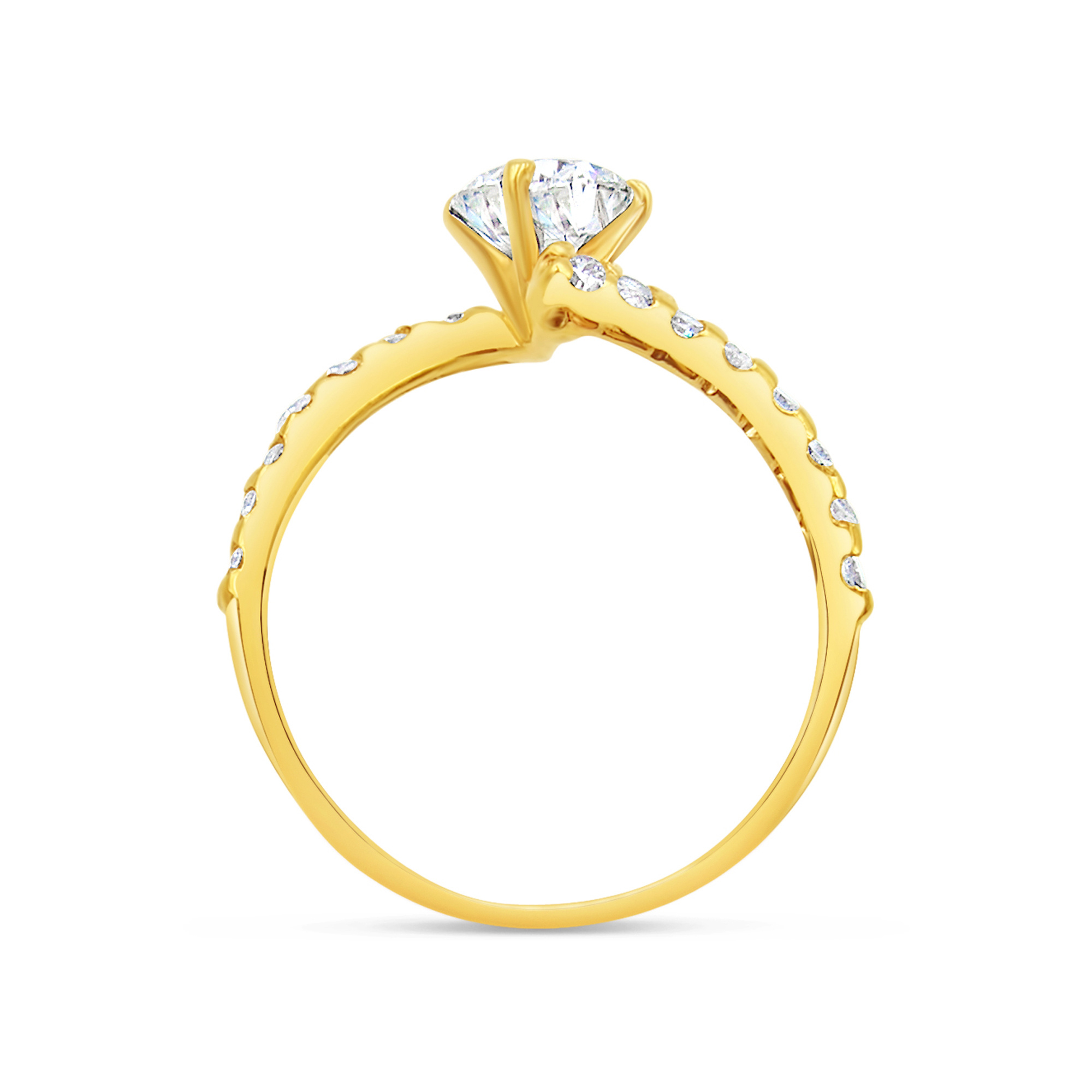 18kt yellow gold engagement ring with 1.23 ct diamonds