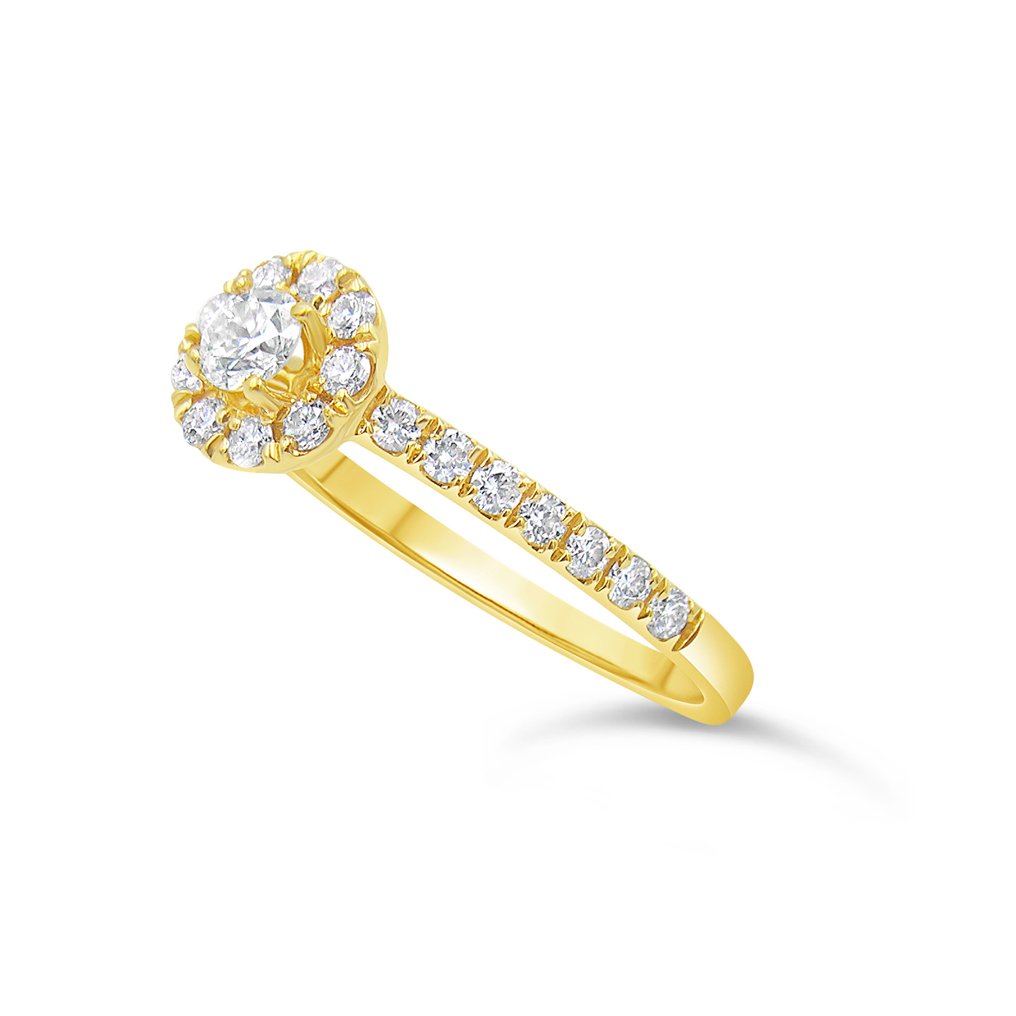 18kt geel goud verlovingsring met 0.60 ct diamanten