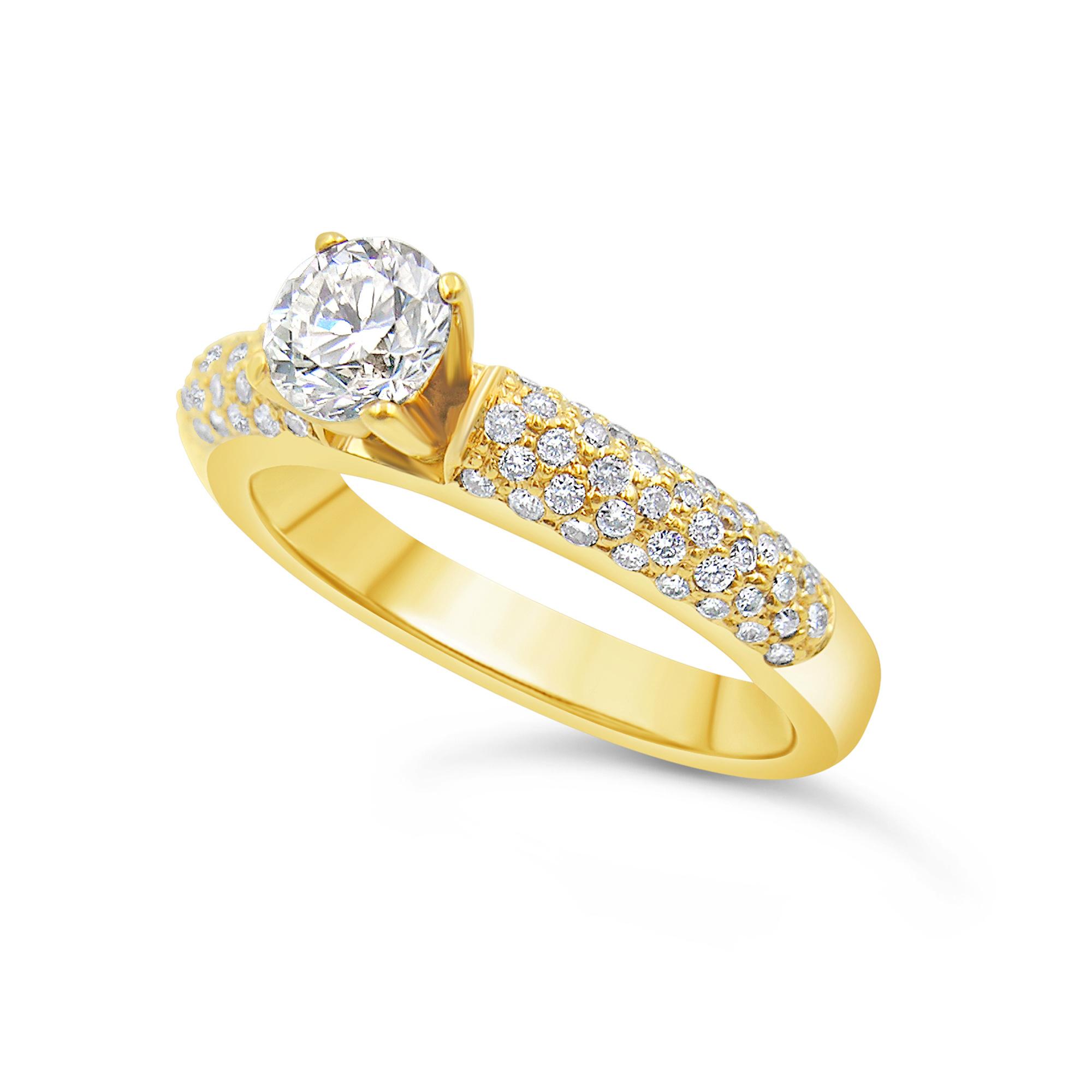 18kt geel goud verlovingsring met 1.14 ct diamanten