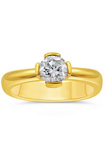 18kt yellow gold engagement ring with 0.74 ct diamond
