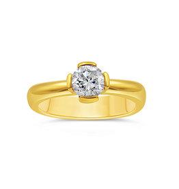 18kt geel goud verlovingsring met 0.74 ct diamant