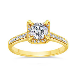 18kt yellow gold engagement ring with 0.87 ct diamonds