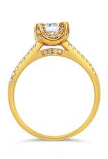 18kt geel goud verlovingsring met 0.87 ct diamanten
