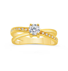 18k yellow gold engagement ring with 0.46 ct diamonds