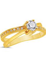 18kt geel goud verlovingsring met 0.46 ct diamanten