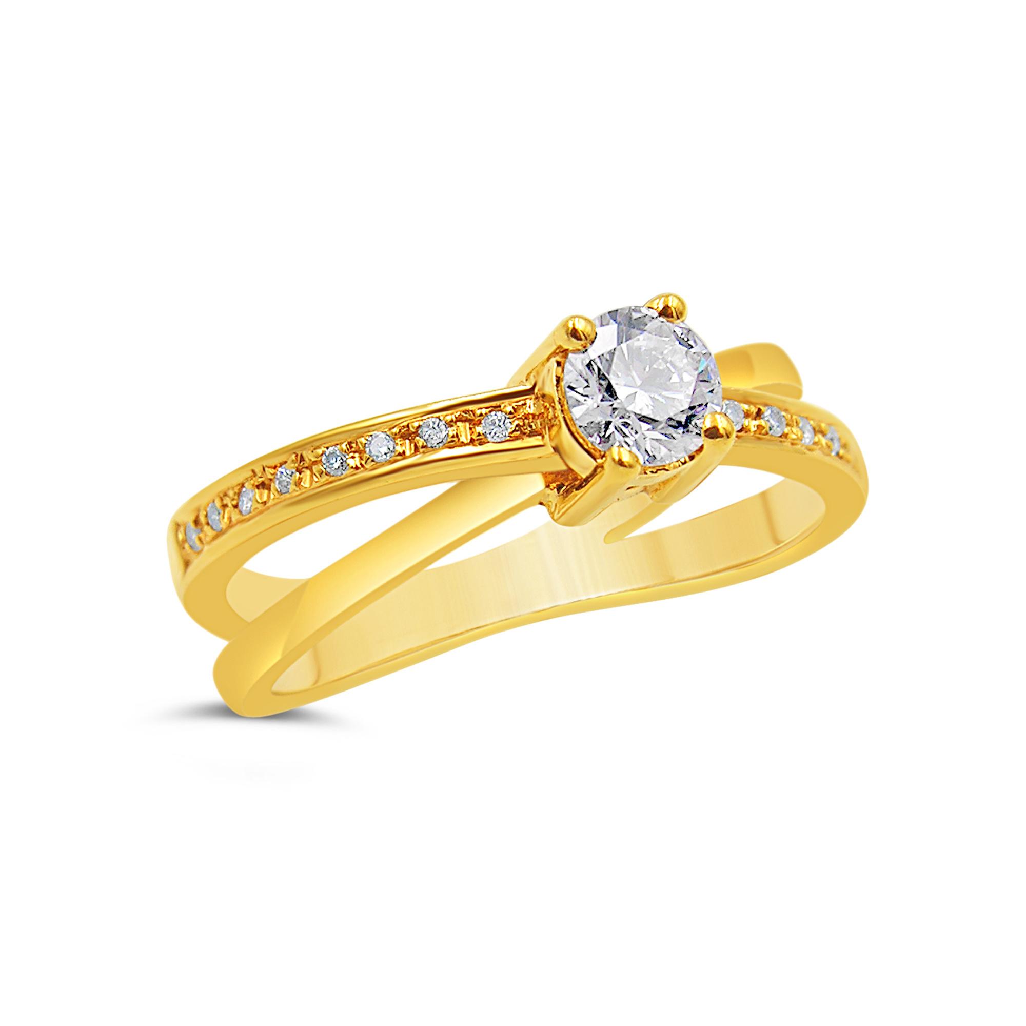 18k geel goud verlovingsring met 0.46 ct diamanten