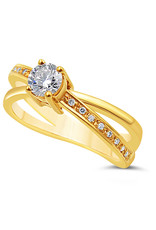 18kt yellow gold engagement ring with 0.46 ct diamonds