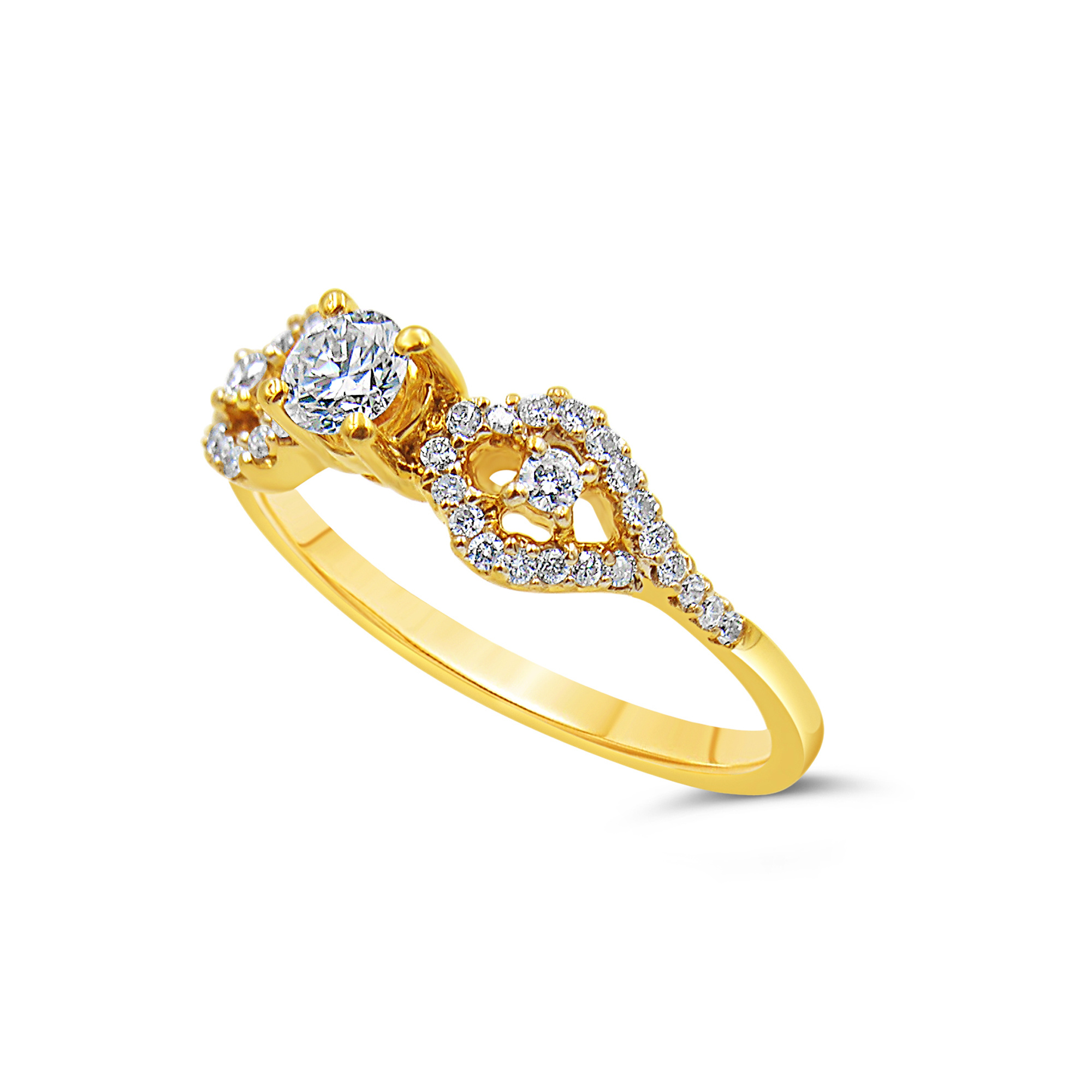 18kt yellow gold engagement ring with 0.51 ct diamonds
