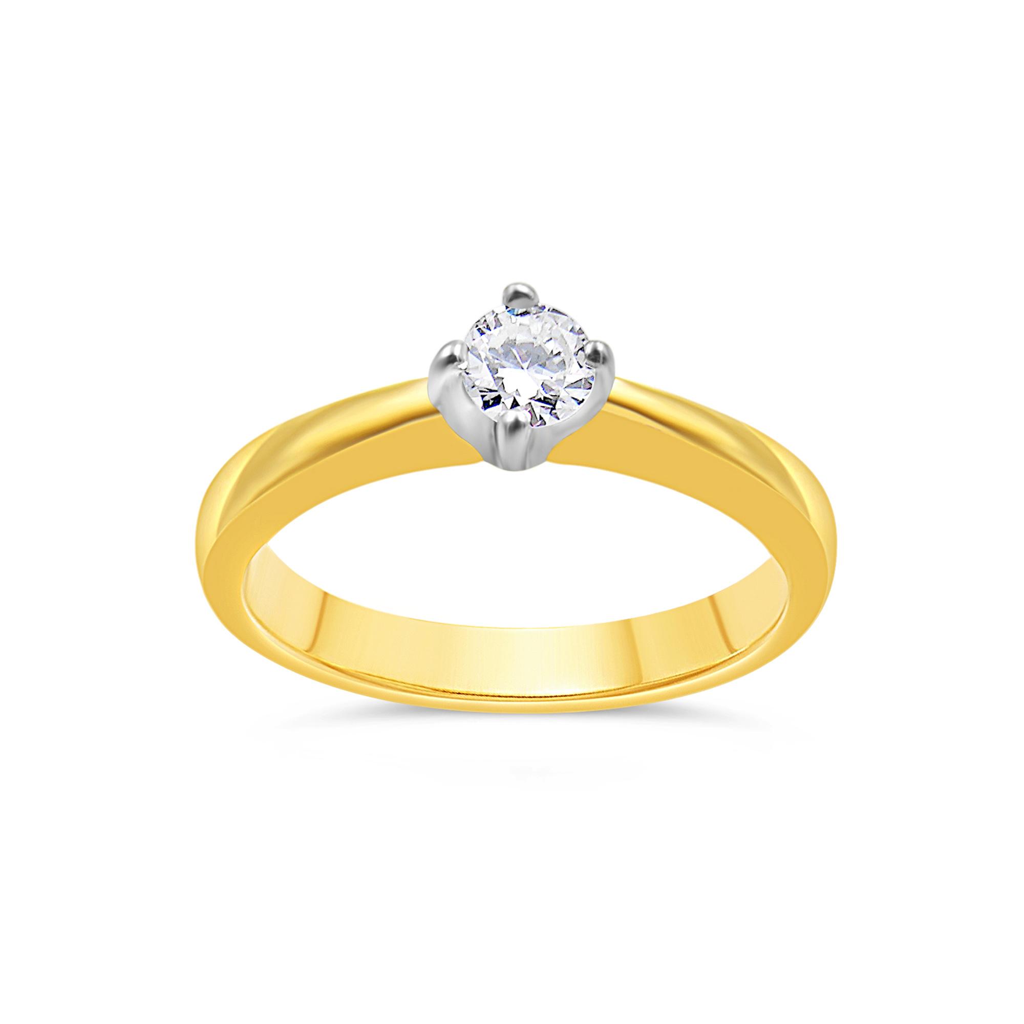 18kt geel goud verlovingsring met 0.26 ct diamant