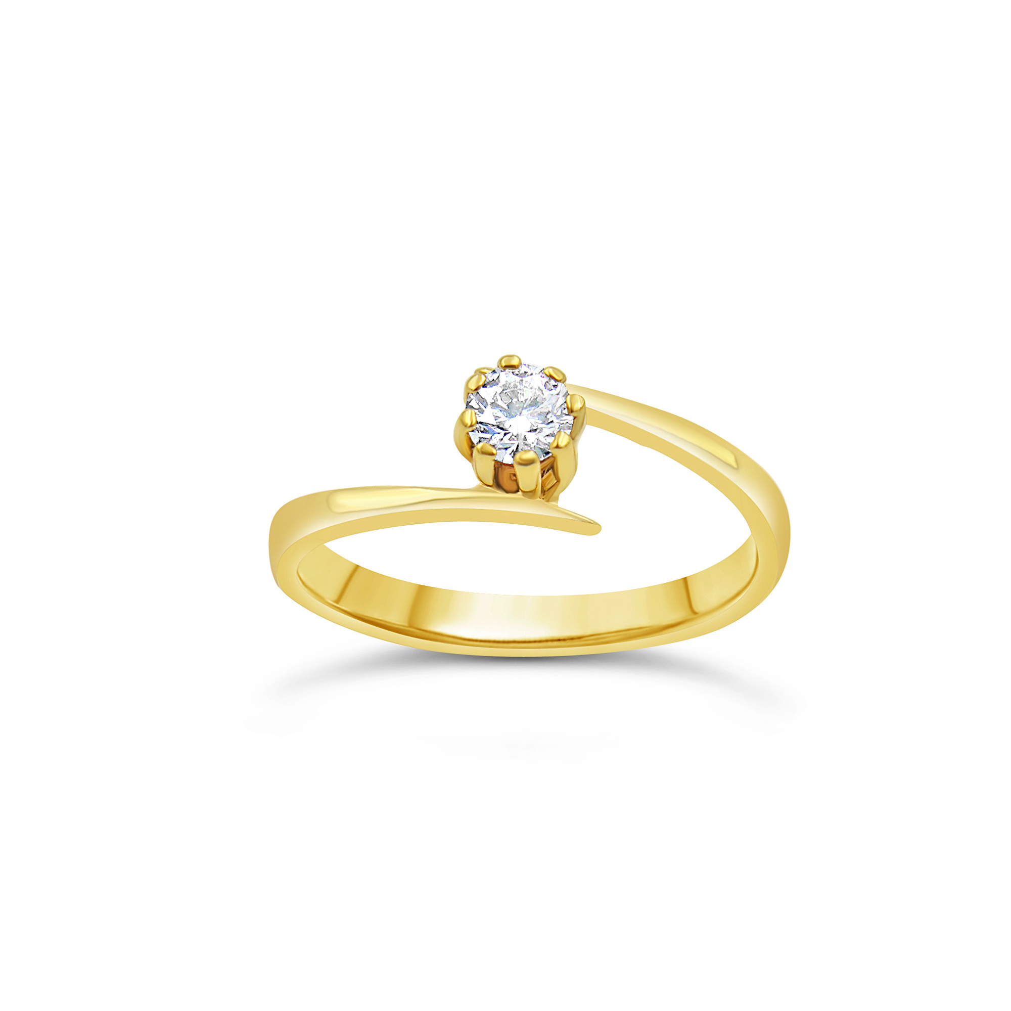 18kt yellow gold engagement ring with 0.24 ct diamond