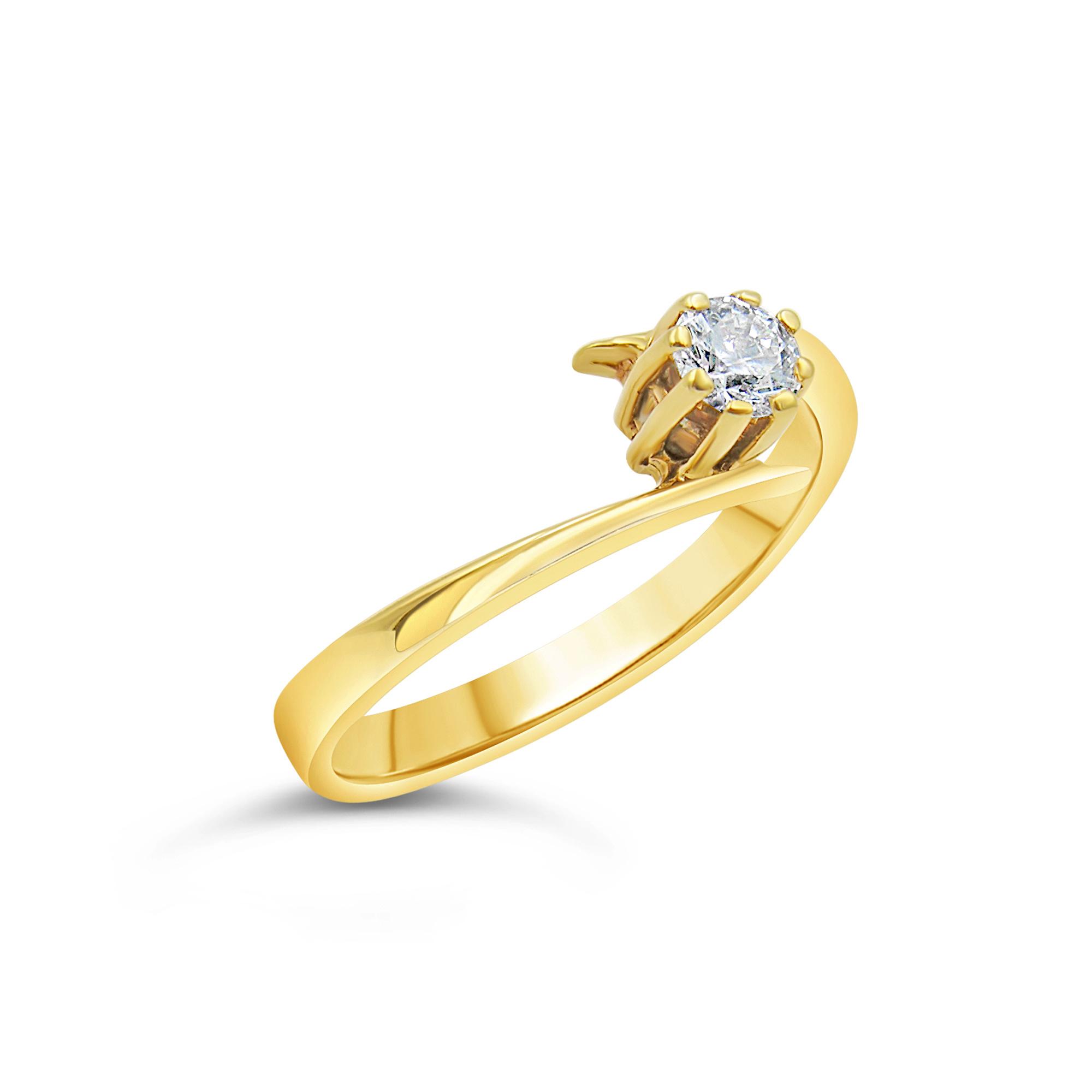 18kt geel goud verlovingsring met 0.24 ct diamant