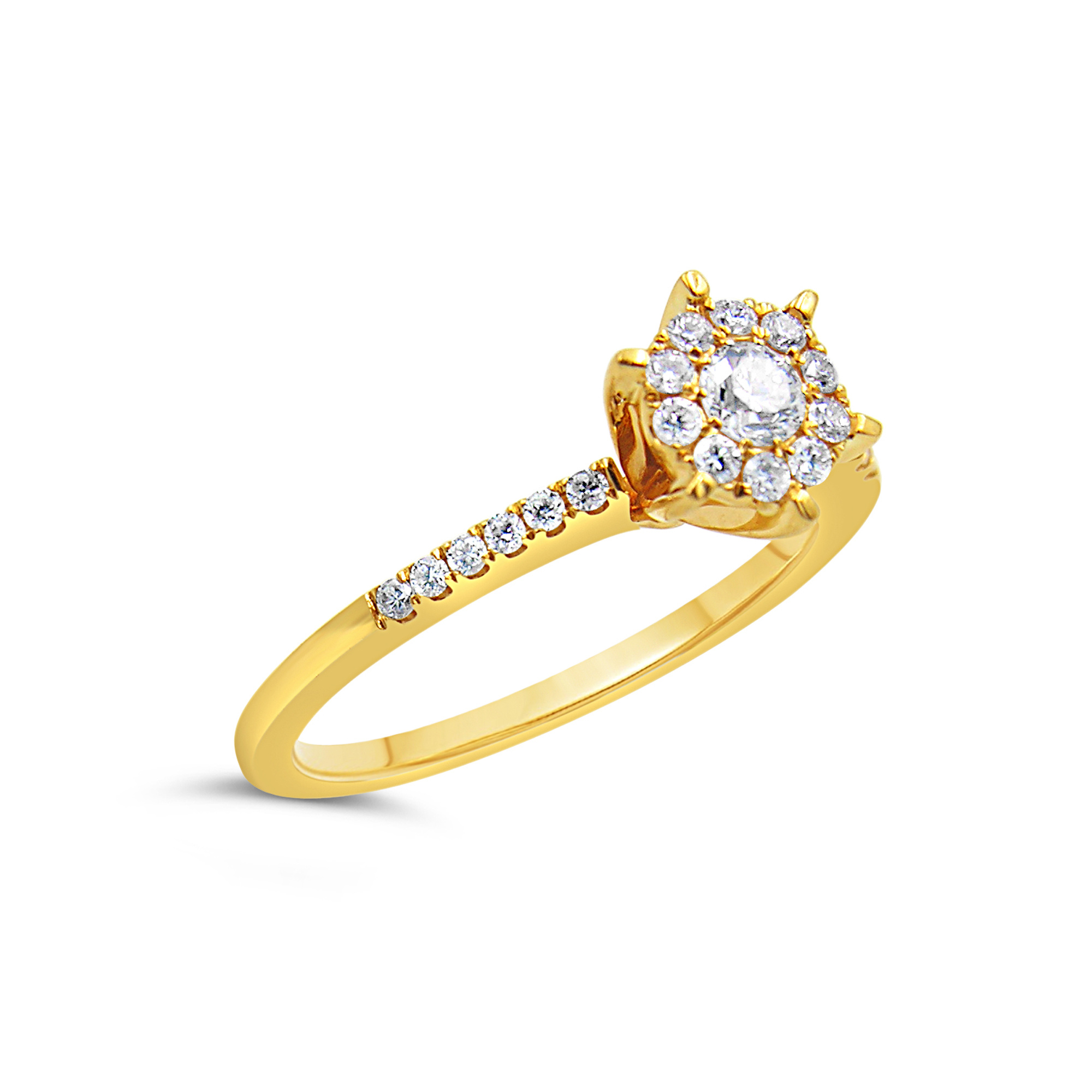 18kt yellow gold engagement ring with 0.36 ct diamonds