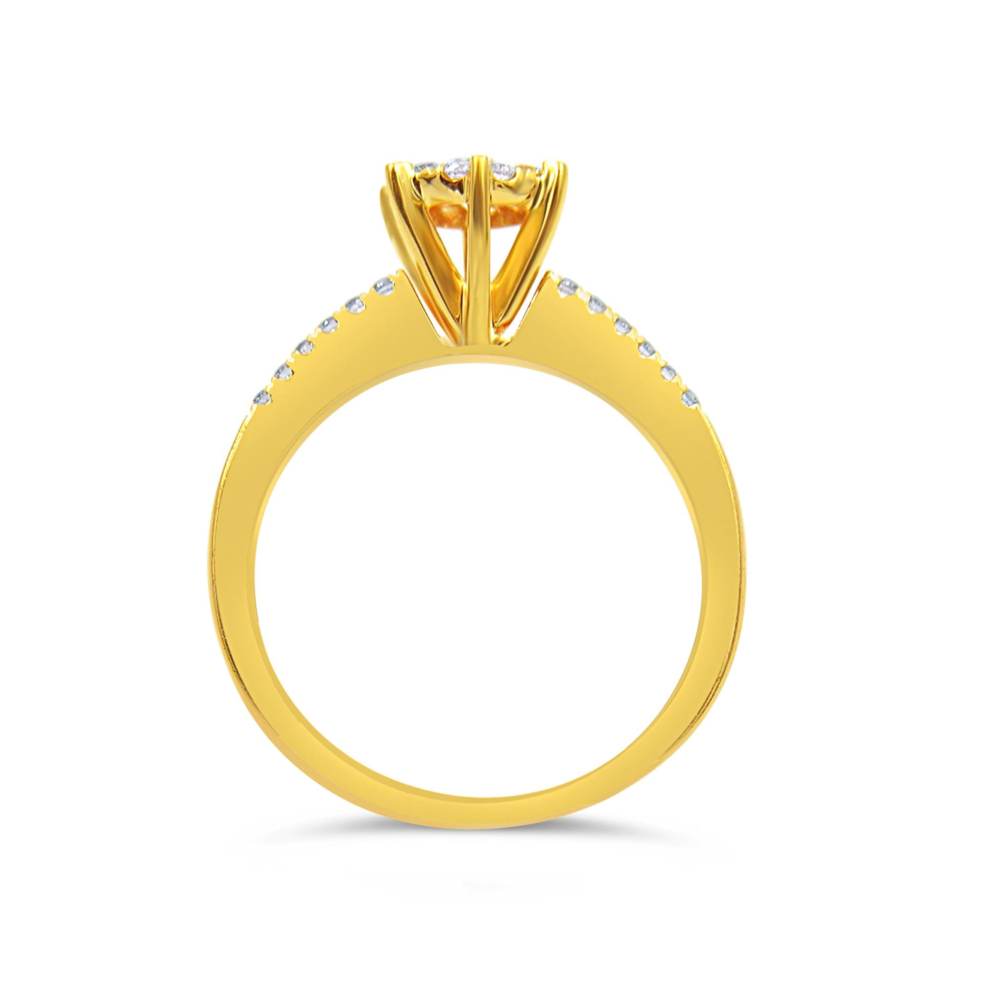18kt geel goud verlovingsring met 0.36 ct diamanten