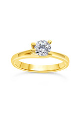 18kt yellow gold engagement ring with 0.57 ct diamond