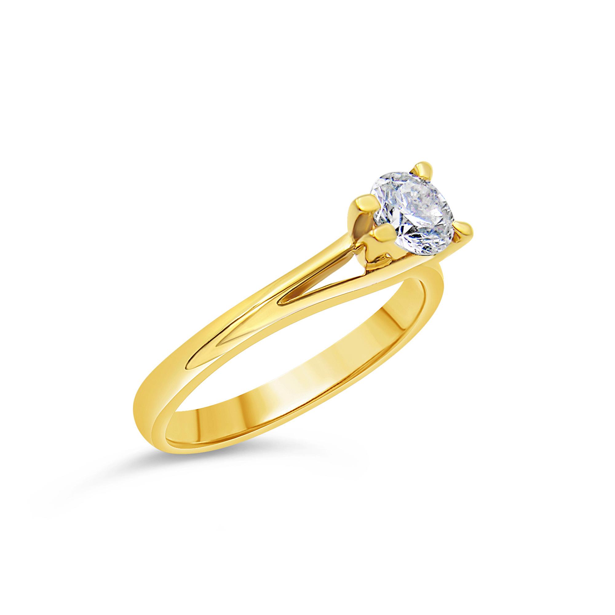 18kt geel goud verlovingsring met 0.57 ct diamant