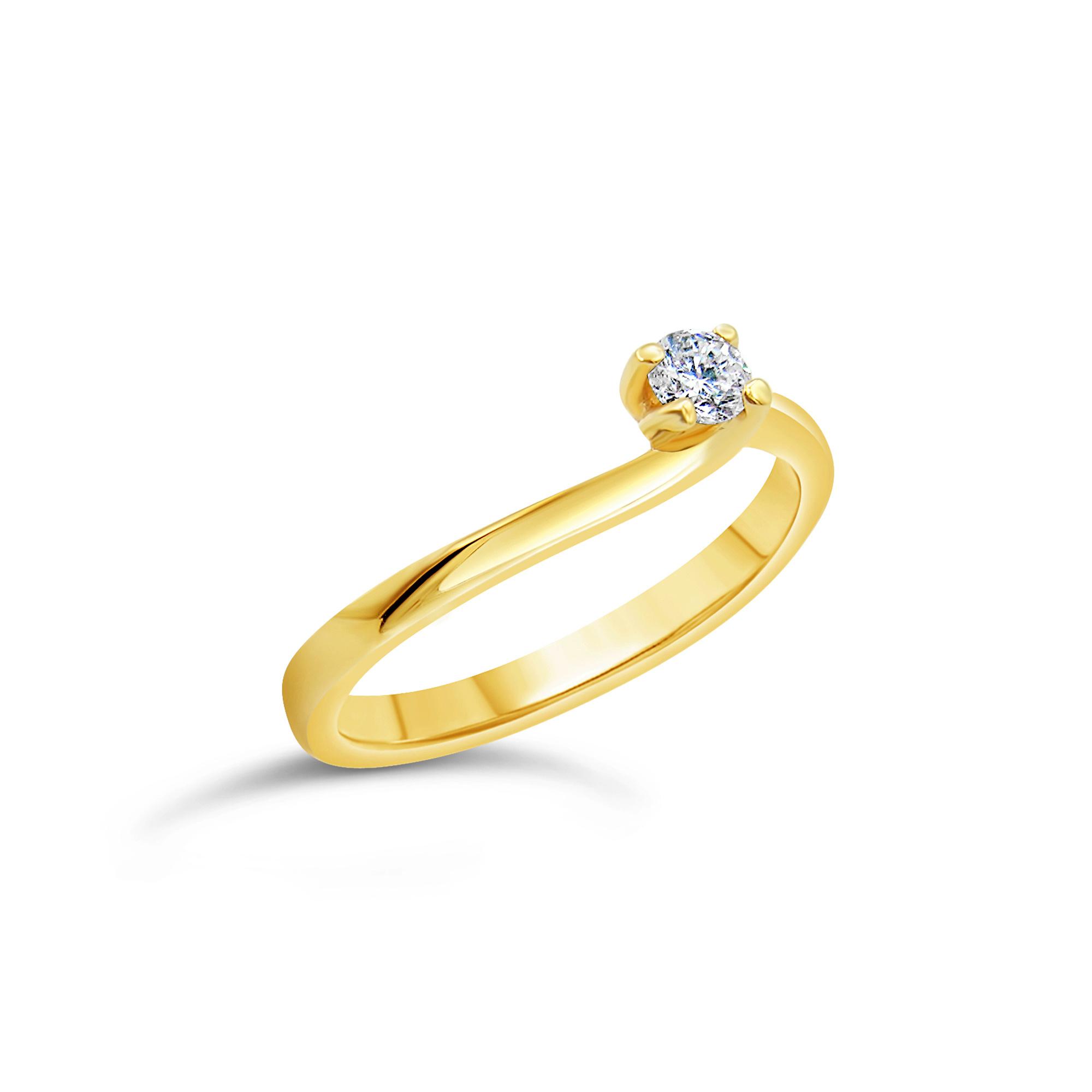18kt geel goud verlovingsring met 0.18 ct diamant