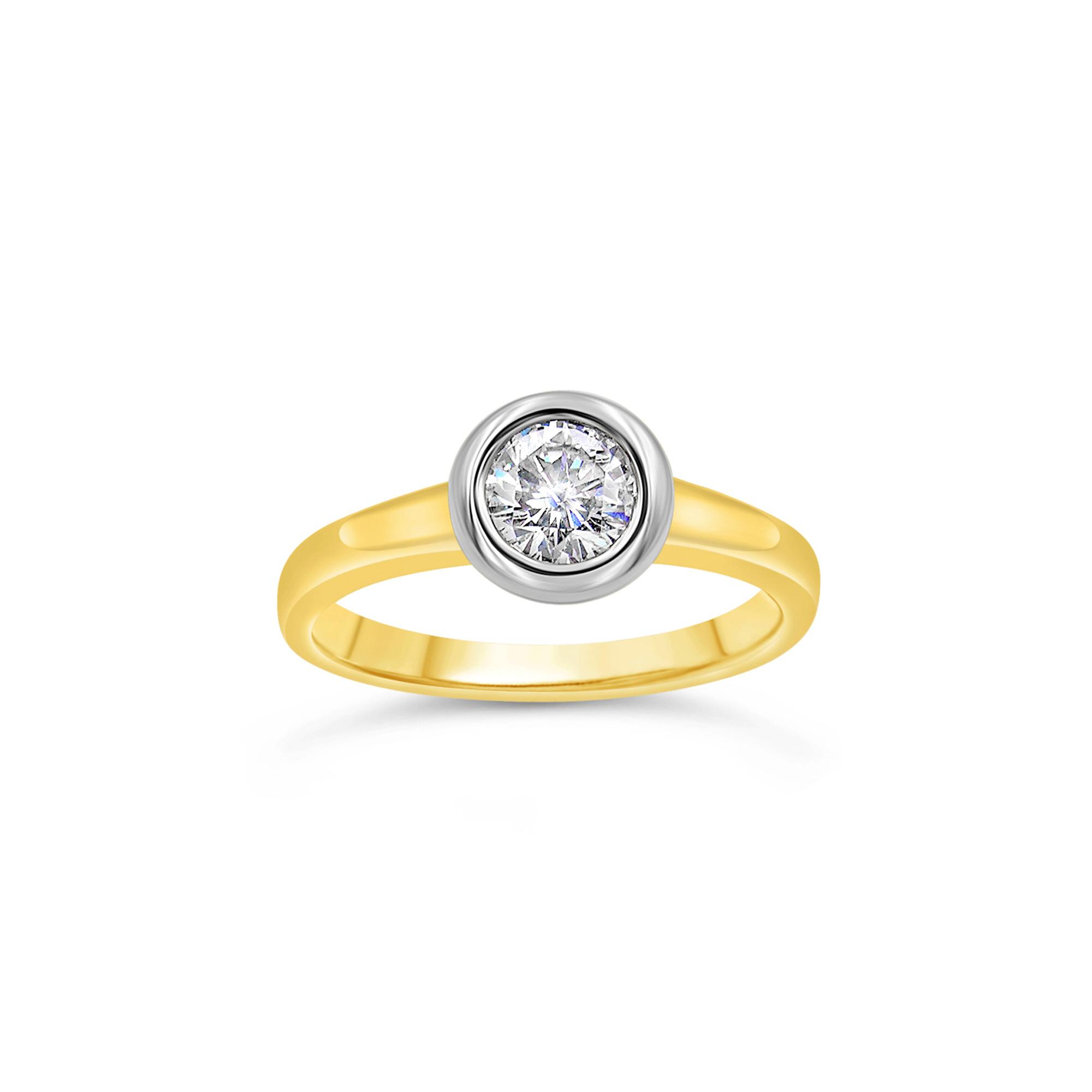 18kt geel goud verlovingsring met 0.52 ct diamant