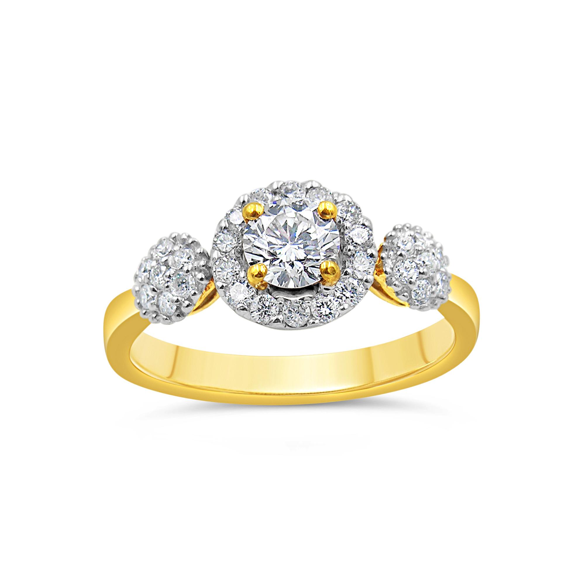 18kt geel goud verlovingsring met 0.73 ct diamanten