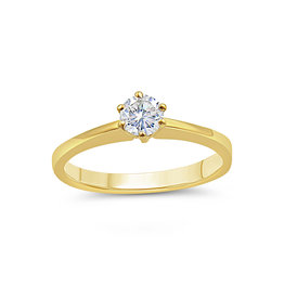 18kt yellow gold engagement ring with 0.20 ct diamond