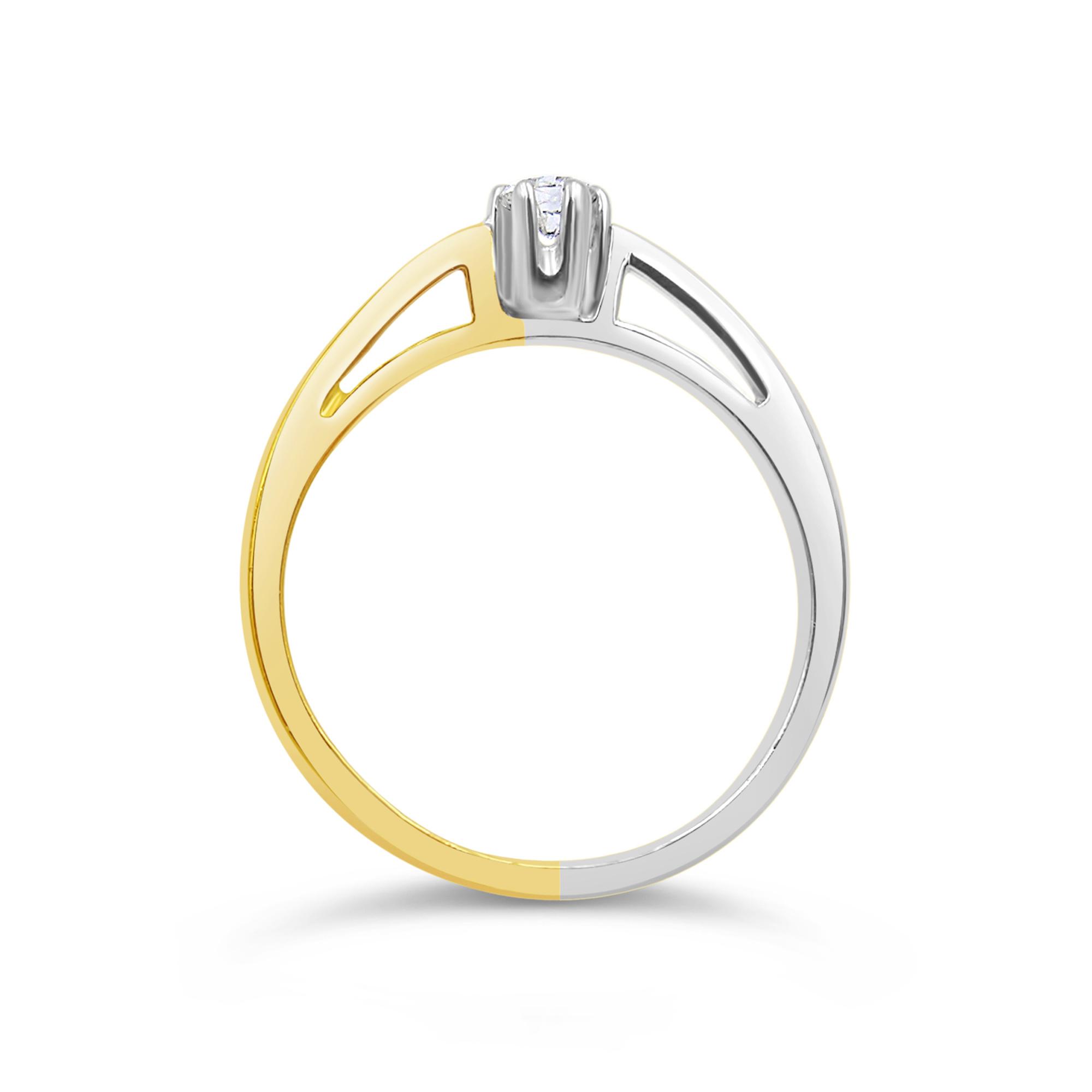 18kt geel & wit goud verlovingsring met 0.15 ct diamant
