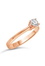 18kt roze goud verlovingsring met 0.24 ct diamant
