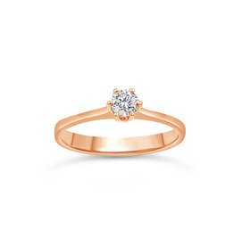 18kt rose gold engagement ring with 0.22 ct diamond