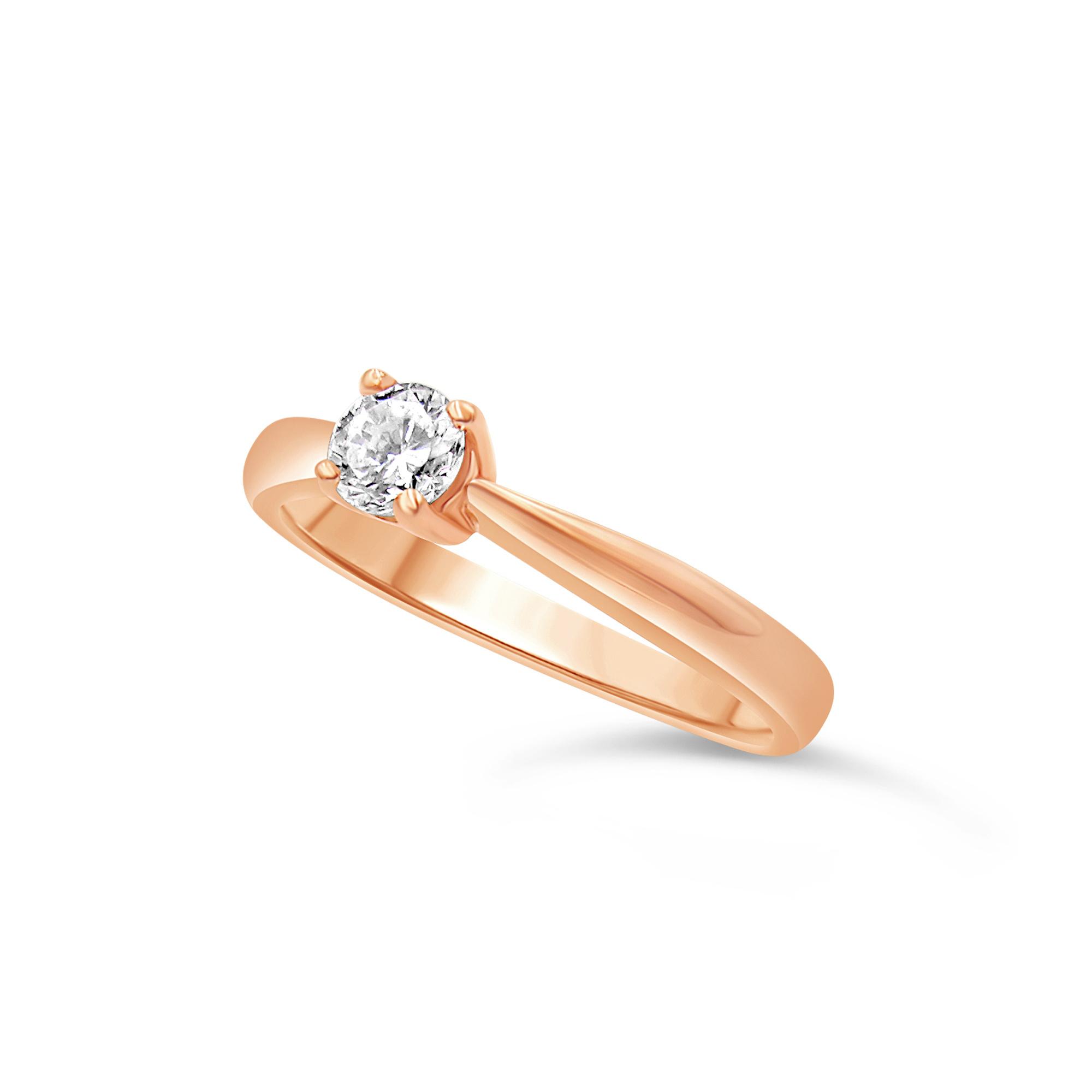 18kt roze goud verlovingsring met 0.31 ct diamant